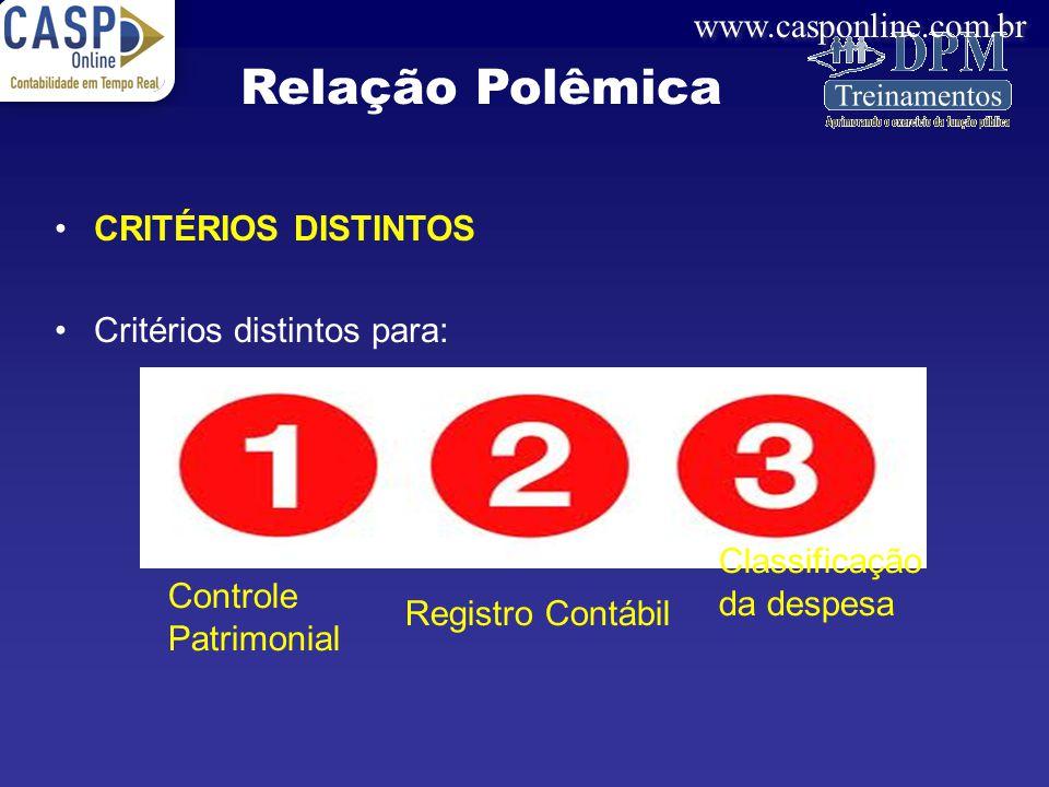 www.casponline.com.br CRITÉRIOS DISTINTOS Critérios distintos para: Relação Polêmica Controle Patrimonial Registro Contábil Classificação da despesa