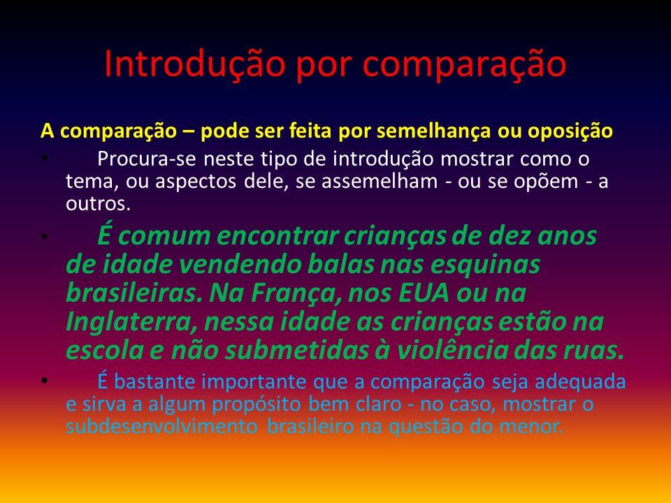 Introdução por comparação A comparação – pode ser feita por semelhança ou oposição Procura-se neste tipo de introdução mostrar como o tema, ou aspecto