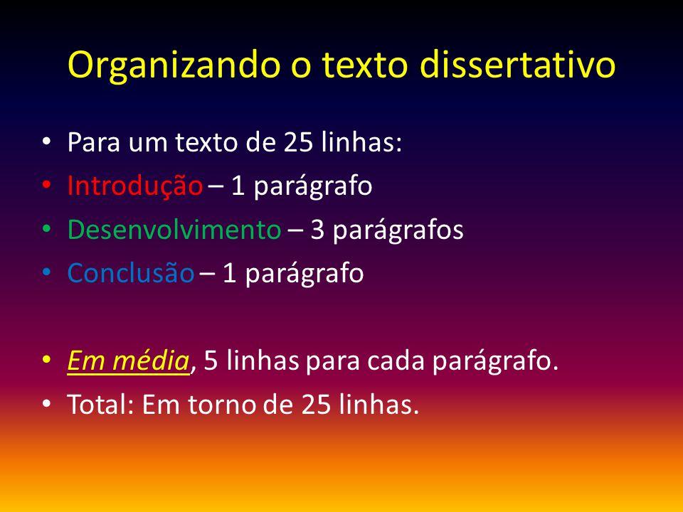 Organizando o texto dissertativo Para um texto de 25 linhas: Introdução – 1 parágrafo Desenvolvimento – 3 parágrafos Conclusão – 1 parágrafo Em média,