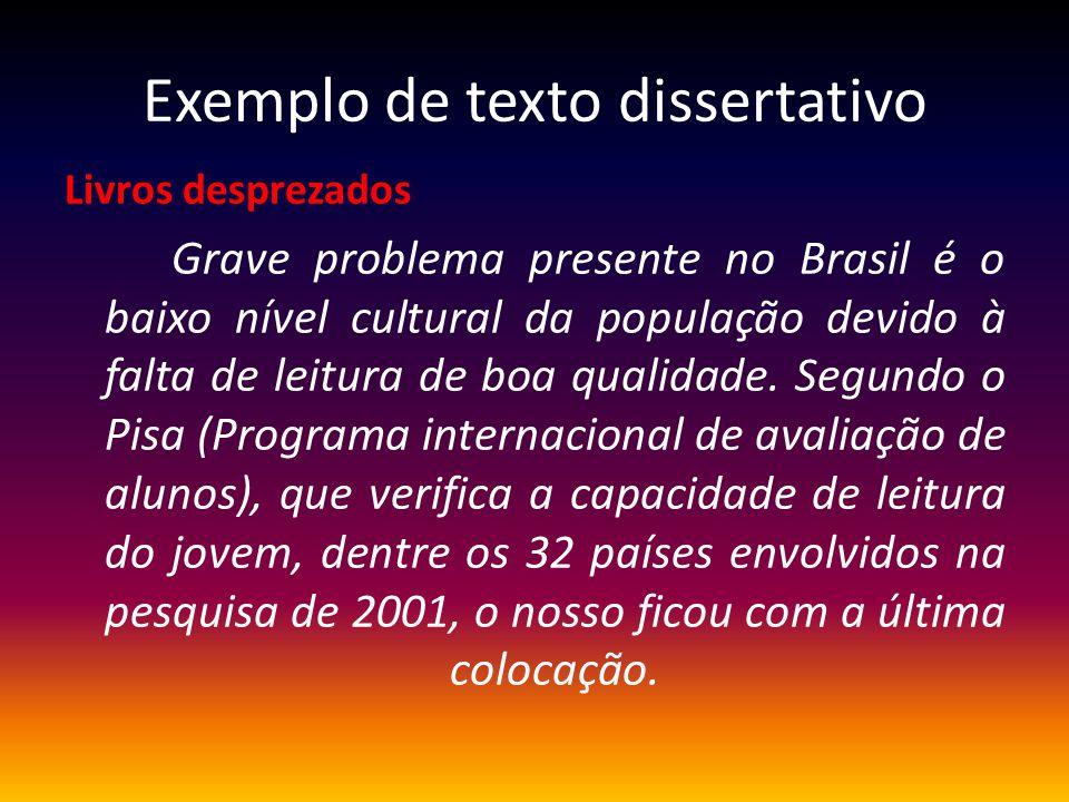 Exemplo de texto dissertativo Livros desprezados Grave problema presente no Brasil é o baixo nível cultural da população devido à falta de leitura de