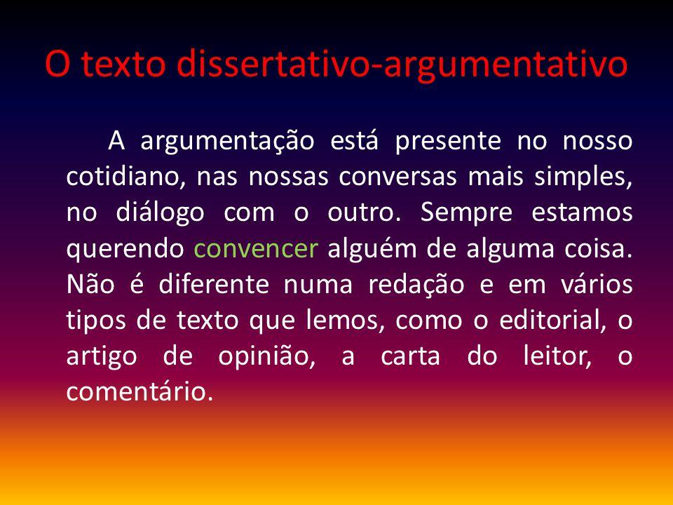 O texto dissertativo-argumentativo A argumentação está presente no nosso cotidiano, nas nossas conversas mais simples, no diálogo com o outro. Sempre