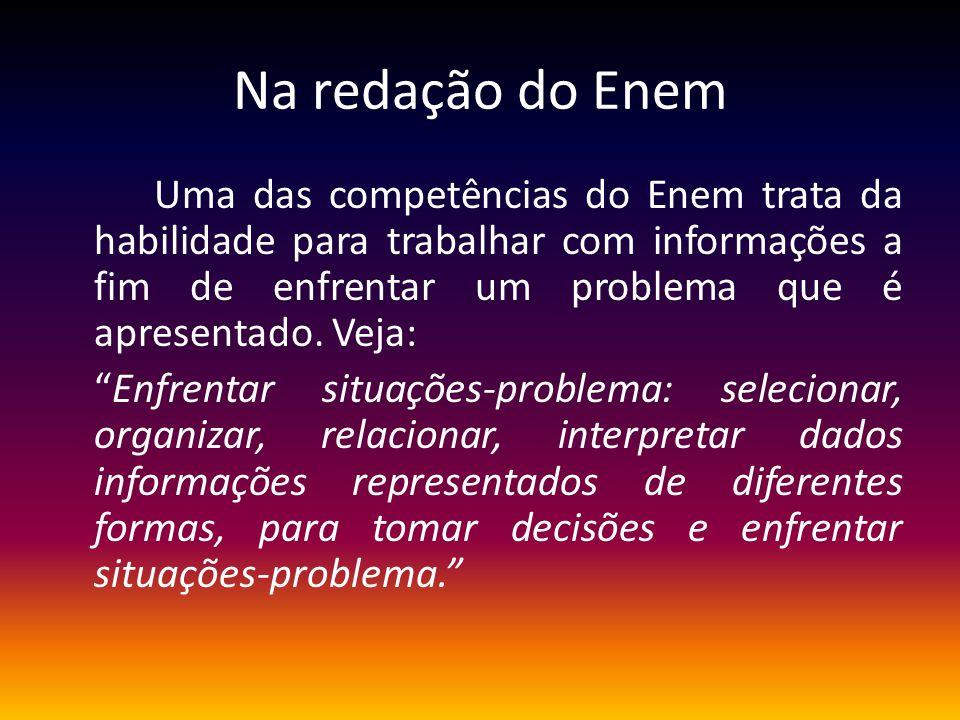 Na redação do Enem Uma das competências do Enem trata da habilidade para trabalhar com informações a fim de enfrentar um problema que é apresentado. V