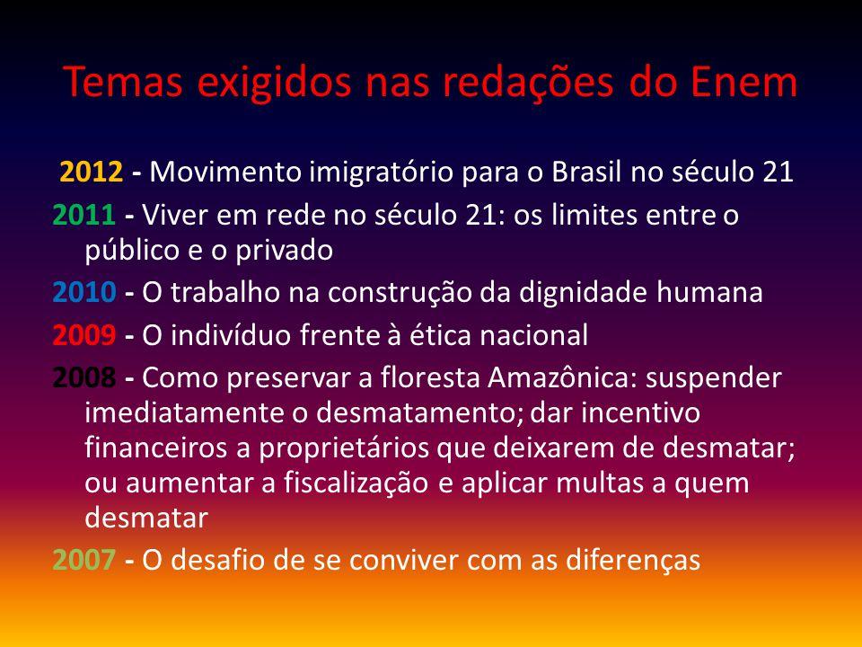 Temas exigidos nas redações do Enem 2012 - Movimento imigratório para o Brasil no século 21 2011 - Viver em rede no século 21: os limites entre o públ