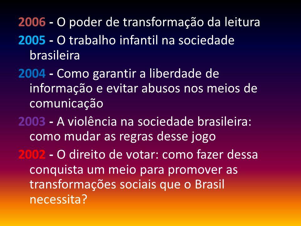 2006 - O poder de transformação da leitura 2005 - O trabalho infantil na sociedade brasileira 2004 - Como garantir a liberdade de informação e evitar