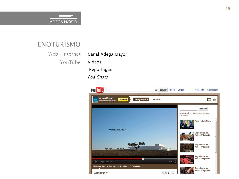 15 Canal Adega Mayor Videos Reportagens Pod Casts ENOTURISMO Web - Internet YouTube