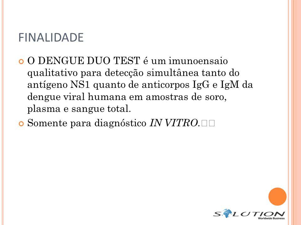 FINALIDADE O DENGUE DUO TEST é um imunoensaio qualitativo para detecção simultânea tanto do antígeno NS1 quanto de anticorpos IgG e IgM da dengue viral humana em amostras de soro, plasma e sangue total.