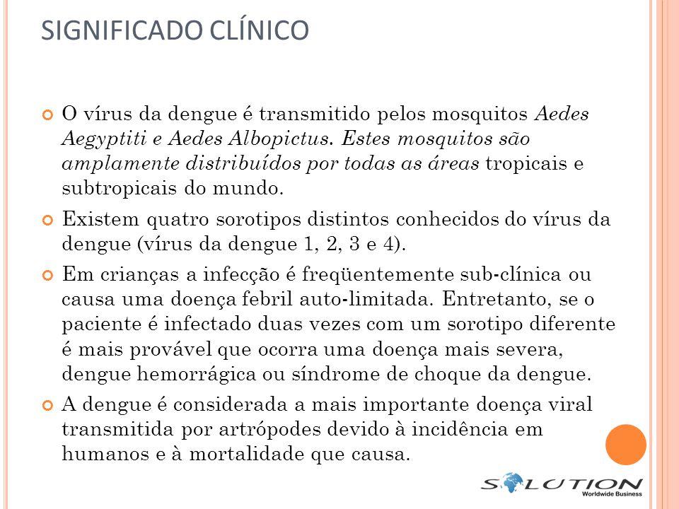 SIGNIFICADO CLÍNICO O vírus da dengue é transmitido pelos mosquitos Aedes Aegyptiti e Aedes Albopictus. Estes mosquitos são amplamente distribuídos po