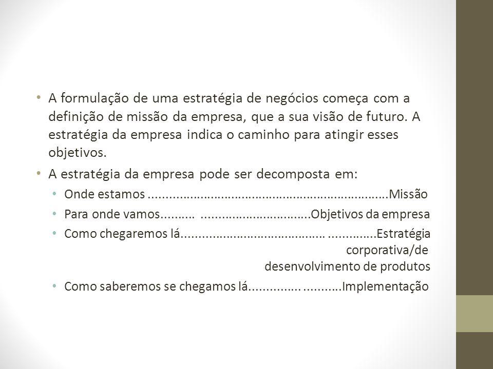 A formulação de uma estratégia de negócios começa com a definição de missão da empresa, que a sua visão de futuro. A estratégia da empresa indica o ca