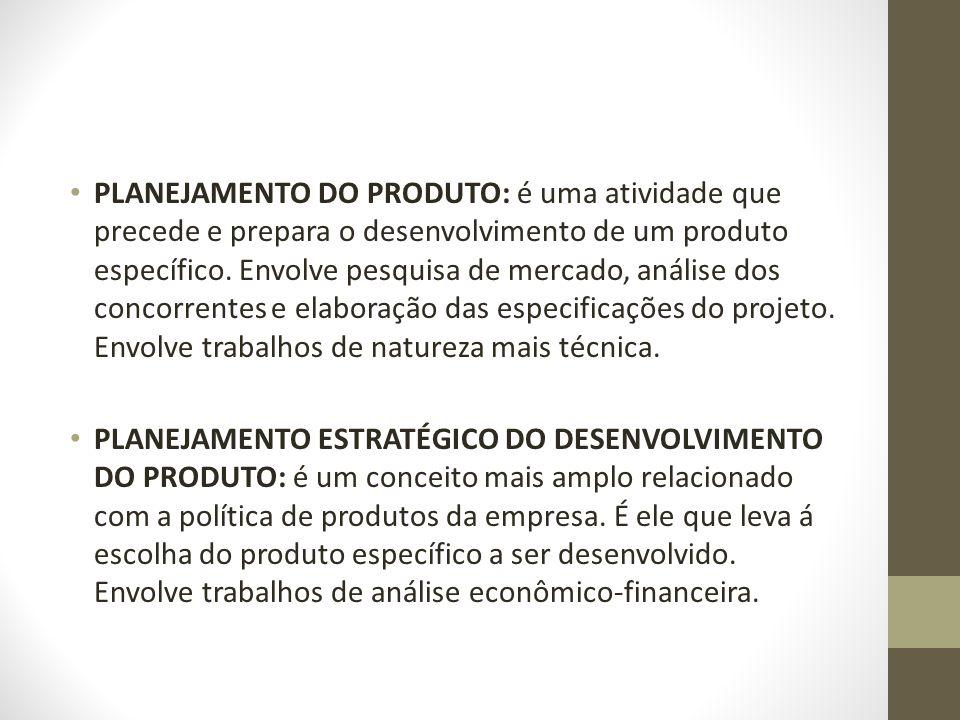PLANEJAMENTO DO PRODUTO: é uma atividade que precede e prepara o desenvolvimento de um produto específico. Envolve pesquisa de mercado, análise dos co