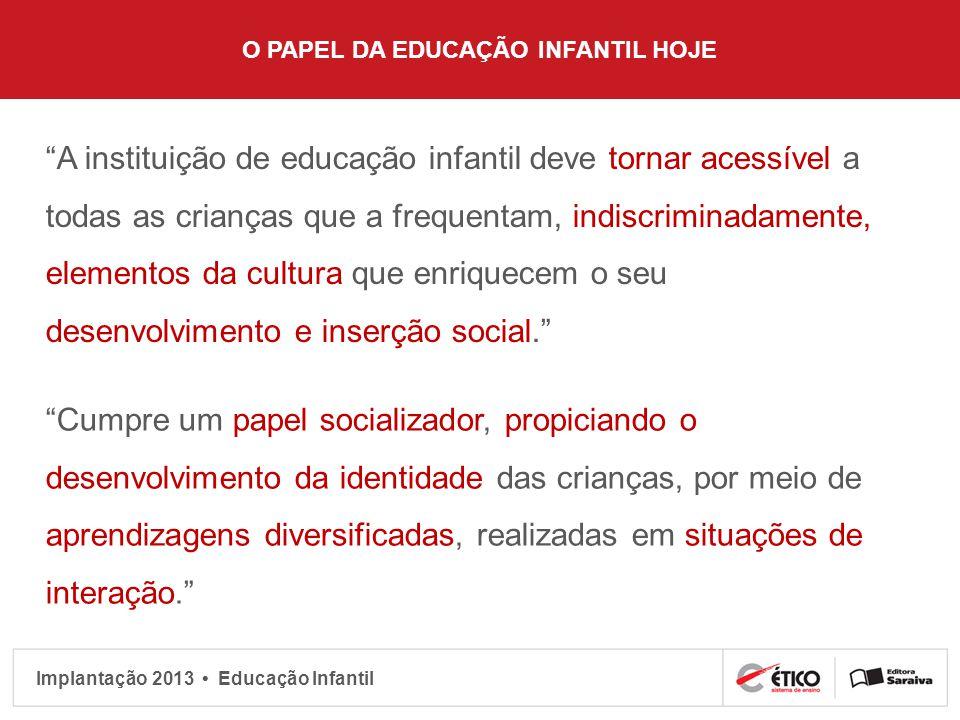 Implantação 2013 Educação Infantil O PAPEL DA EDUCAÇÃO INFANTIL HOJE A instituição de educação infantil deve tornar acessível a todas as crianças que
