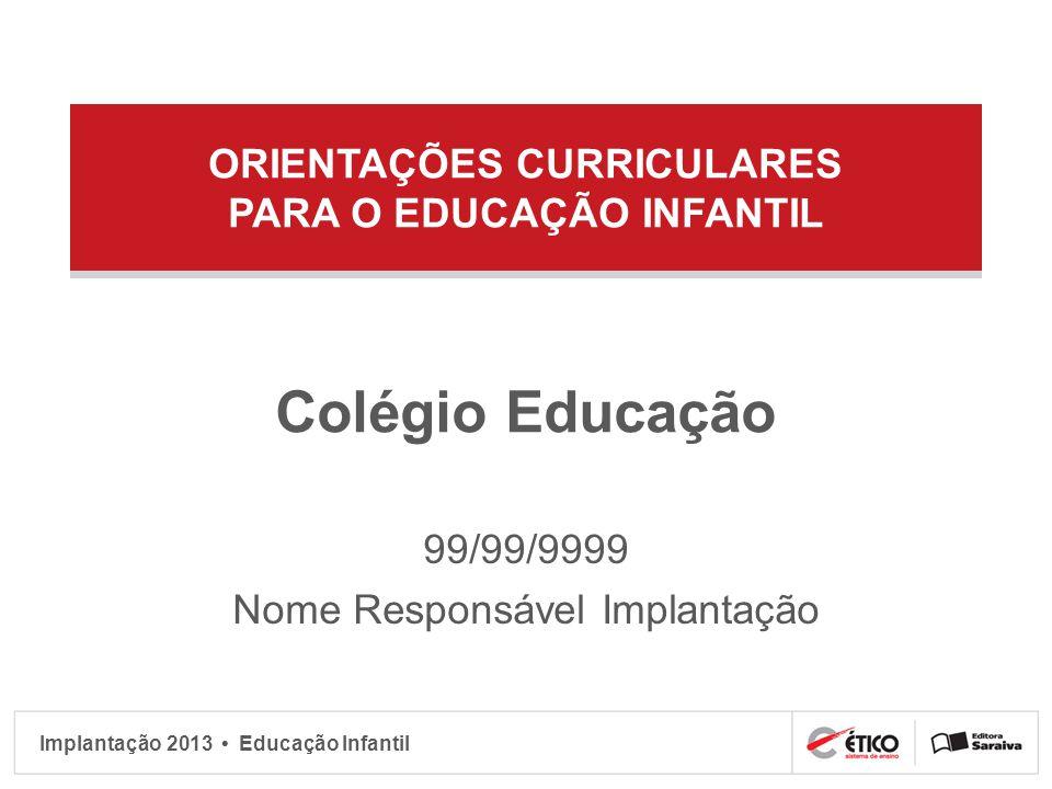 Implantação 2013 Educação Infantil Sujeito social e histórico Organização familiar inserida em uma sociedade Marcada pelo meio social Família ponto de referência fundamental RCNEI