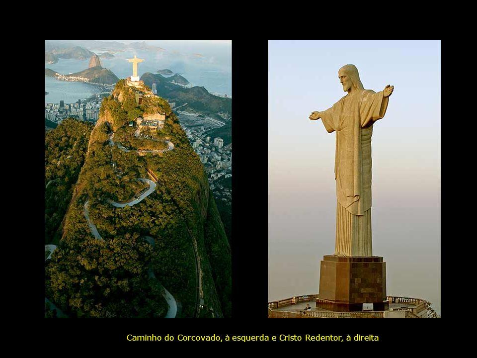Morro do Corcovado com o Cristo Redentor; ao fundo, à direita, Pão de Açúcar