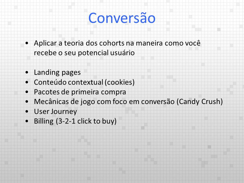 Aplicar a teoria dos cohorts na maneira como você recebe o seu potencial usuário Landing pages Conteúdo contextual (cookies) Pacotes de primeira compr