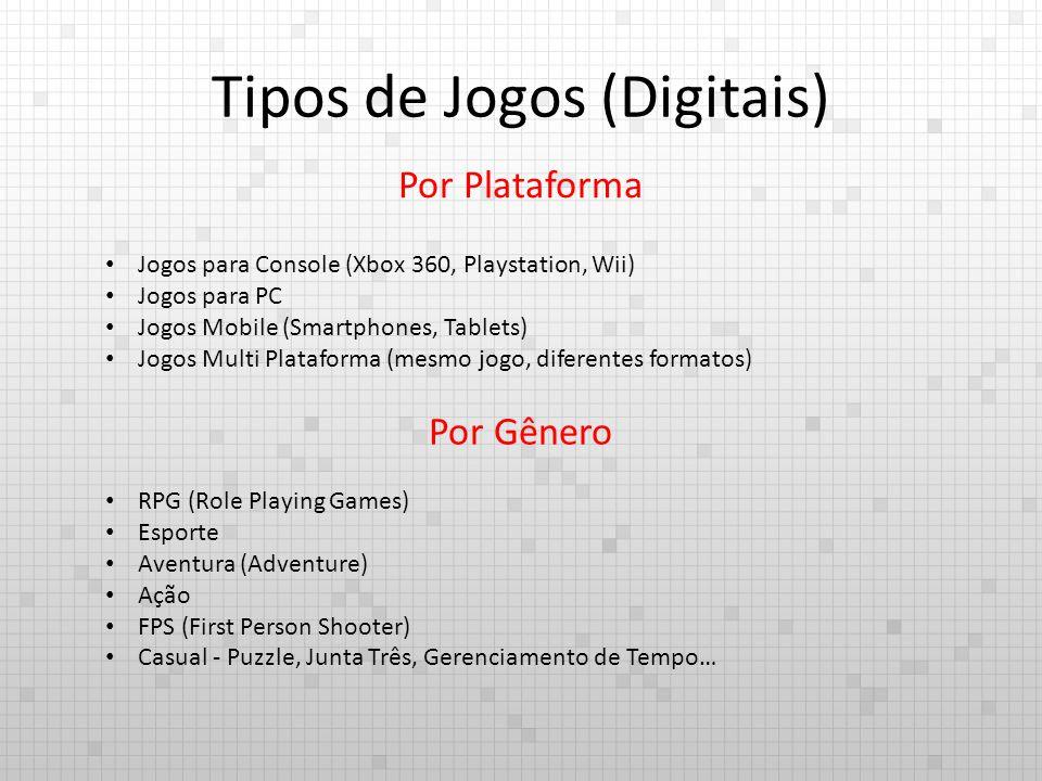 Tipos de Jogos (Digitais) Por Plataforma Jogos para Console (Xbox 360, Playstation, Wii) Jogos para PC Jogos Mobile (Smartphones, Tablets) Jogos Multi Plataforma (mesmo jogo, diferentes formatos) Por Gênero RPG (Role Playing Games) Esporte Aventura (Adventure) Ação FPS (First Person Shooter) Casual - Puzzle, Junta Três, Gerenciamento de Tempo…