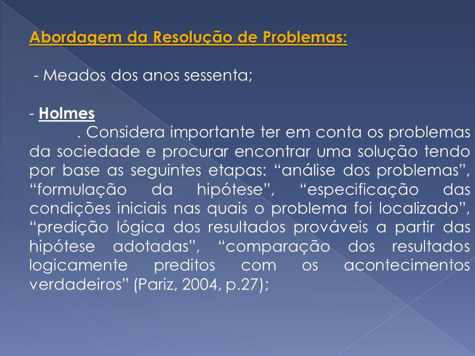 Abordagem da Resolução de Problemas: - Meados dos anos sessenta; - Holmes.