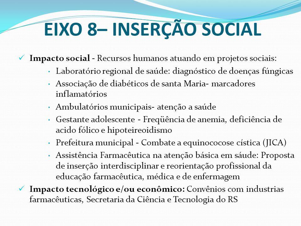 EIXO 8– INSERÇÃO SOCIAL Impacto social - Recursos humanos atuando em projetos sociais: Laboratório regional de saúde: diagnóstico de doenças fúngicas