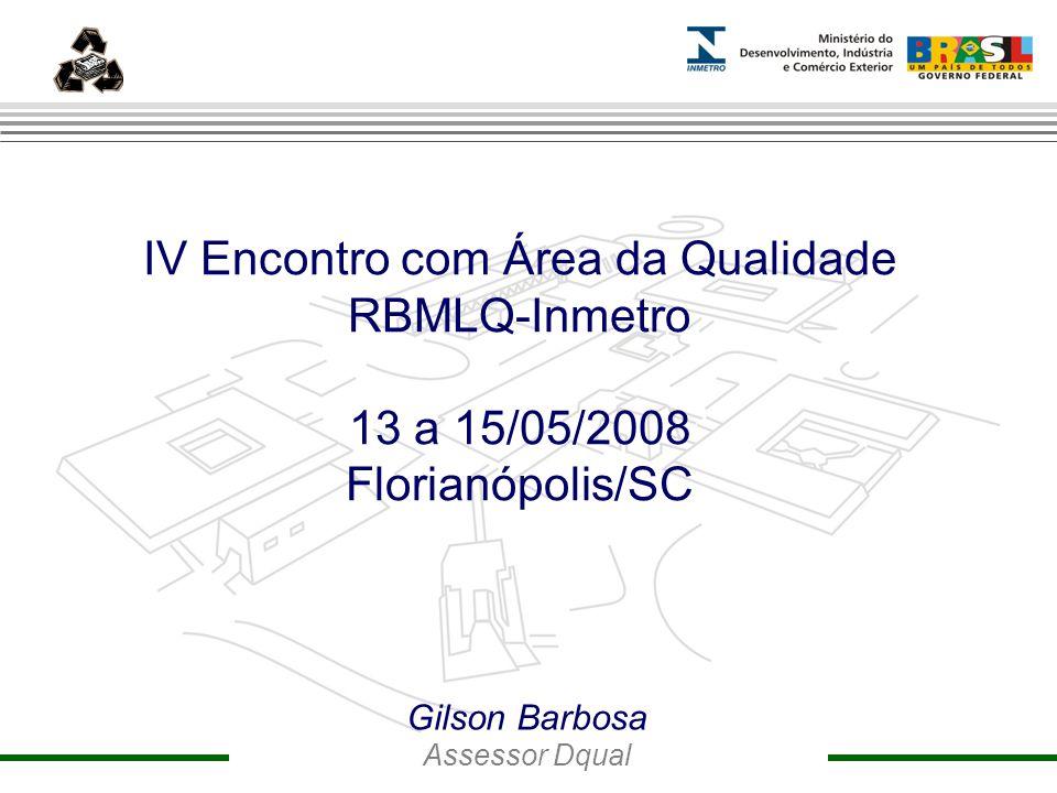 Marca do evento ansnn IV Encontro com Área da Qualidade RBMLQ-Inmetro 13 a 15/05/2008 Florianópolis/SC mmm Gilson Barbosa Assessor Dqual