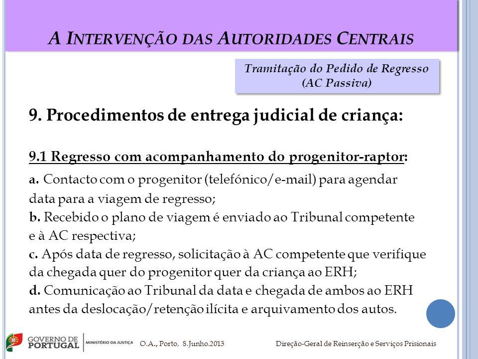A I NTERVENÇÃO DAS A UTORIDADES C ENTRAIS 9. Procedimentos de entrega judicial de criança: 9.1 Regresso com acompanhamento do progenitor-raptor: a. Co