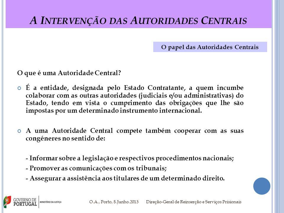 A I NTERVENÇÃO DAS A UTORIDADES C ENTRAIS O.A., Porto, 8.Junho.2013 Direção-Geral de Reinserção e Serviços Prisionais H80; Regulamento (CE) n.º 2201/2003 e H96 Os Instrumentos Internacionais - H80; Regulamento (CE) n.º 2201/2003 e H96 Convenção da Haia de 1980 Regulamento (CE) n.º 2201/2003 Convenção da Haia de 1996