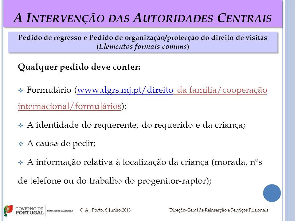 A I NTERVENÇÃO DAS A UTORIDADES C ENTRAIS Qualquer pedido deve conter: Formulário (www.dgrs.mj.pt/direito da família/cooperaçãowww.dgrs.mj.pt/direito