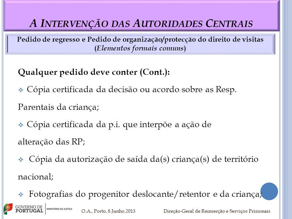 A I NTERVENÇÃO DAS A UTORIDADES C ENTRAIS Qualquer pedido deve conter (Cont.): Cópia certificada da decisão ou acordo sobre as Resp. Parentais da cria