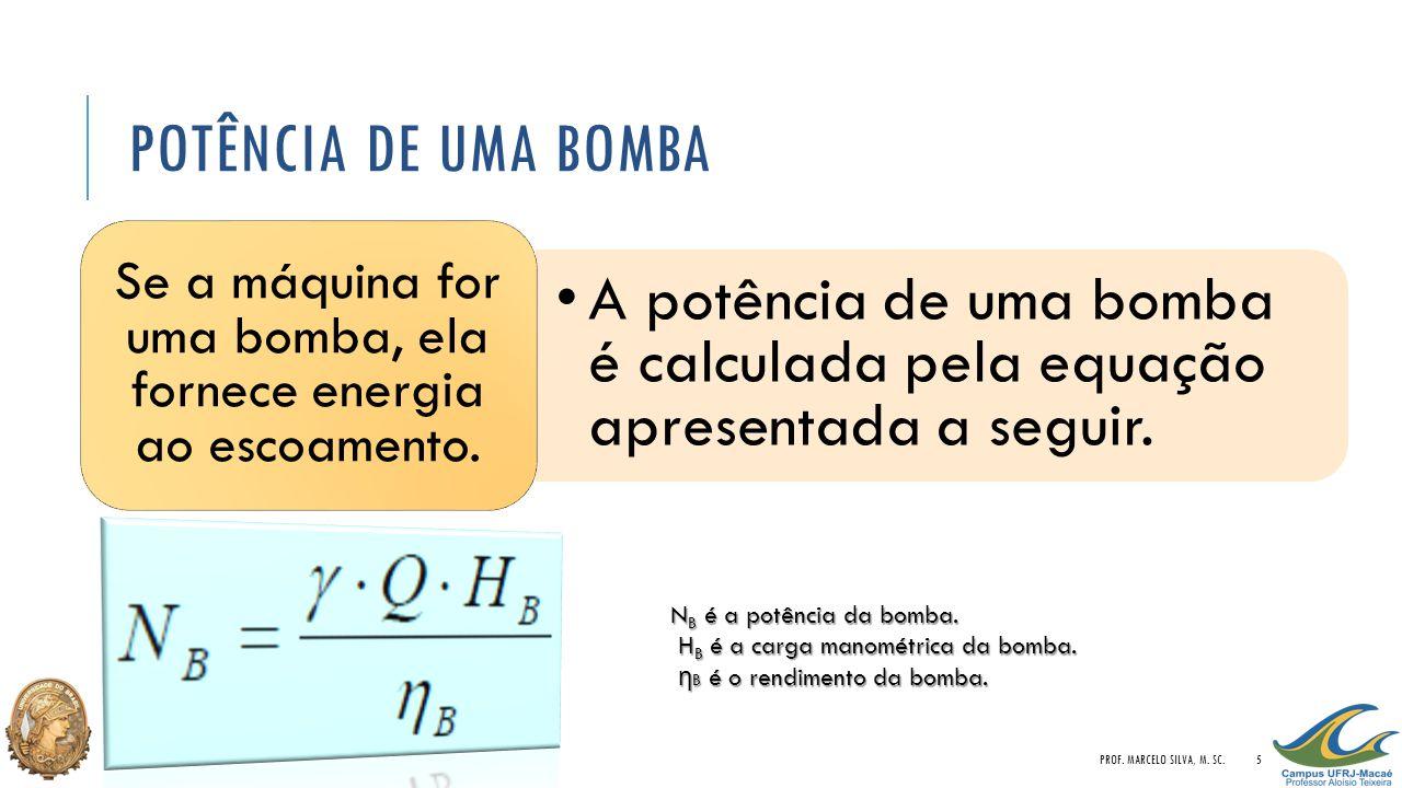 POTÊNCIA DE UMA BOMBA A potência de uma bomba é calculada pela equação apresentada a seguir. Se a máquina for uma bomba, ela fornece energia ao escoam