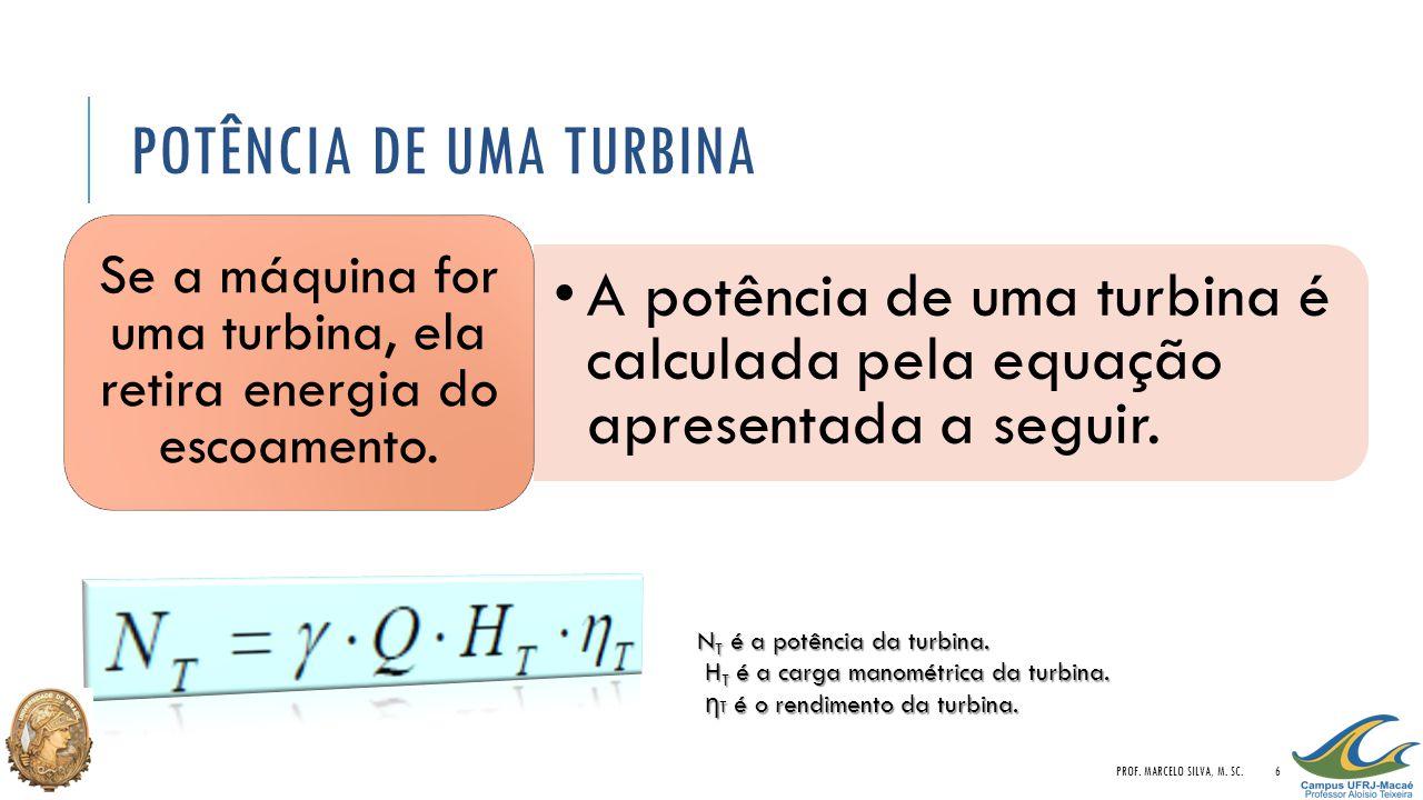 POTÊNCIA DE UMA TURBINA A potência de uma turbina é calculada pela equação apresentada a seguir. Se a máquina for uma turbina, ela retira energia do e