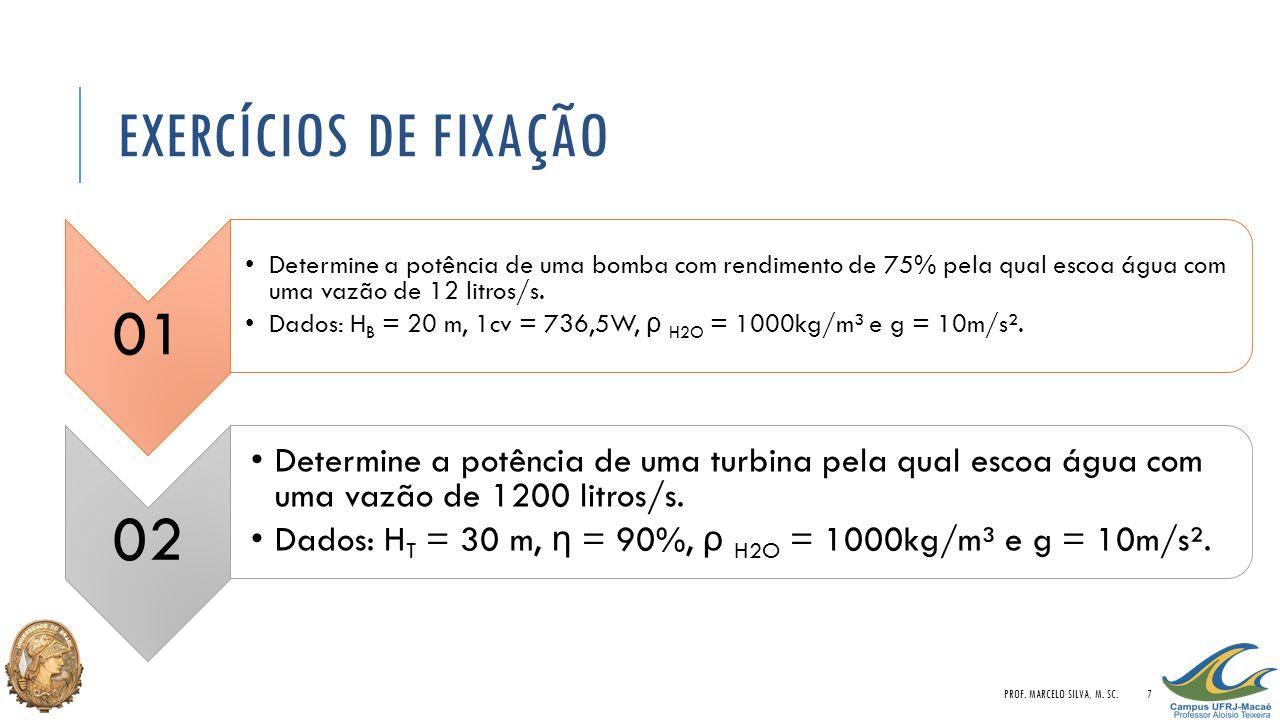 EXERCÍCIOS DE FIXAÇÃO 01 Determine a potência de uma bomba com rendimento de 75% pela qual escoa água com uma vazão de 12 litros/s. Dados: H B = 20 m,