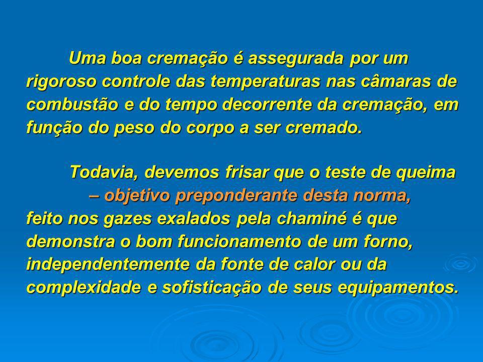Todavia, devemos frisar que o teste de queima – objetivo preponderante desta norma, feito nos gazes exalados pela chaminé é que demonstra o bom funcionamento de um forno, independentemente da fonte de calor ou da complexidade e sofisticação de seus equipamentos.