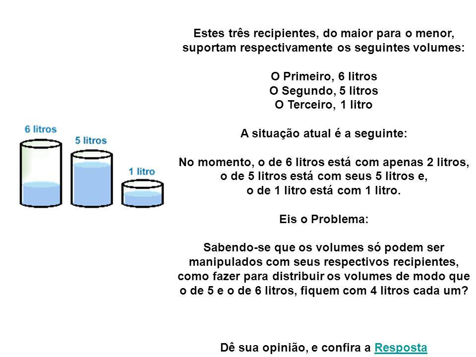 Estes três recipientes, do maior para o menor, suportam respectivamente os seguintes volumes: O Primeiro, 6 litros O Segundo, 5 litros O Terceiro, 1 litro A situação atual é a seguinte: No momento, o de 6 litros está com apenas 2 litros, o de 5 litros está com seus 5 litros e, o de 1 litro está com 1 litro.