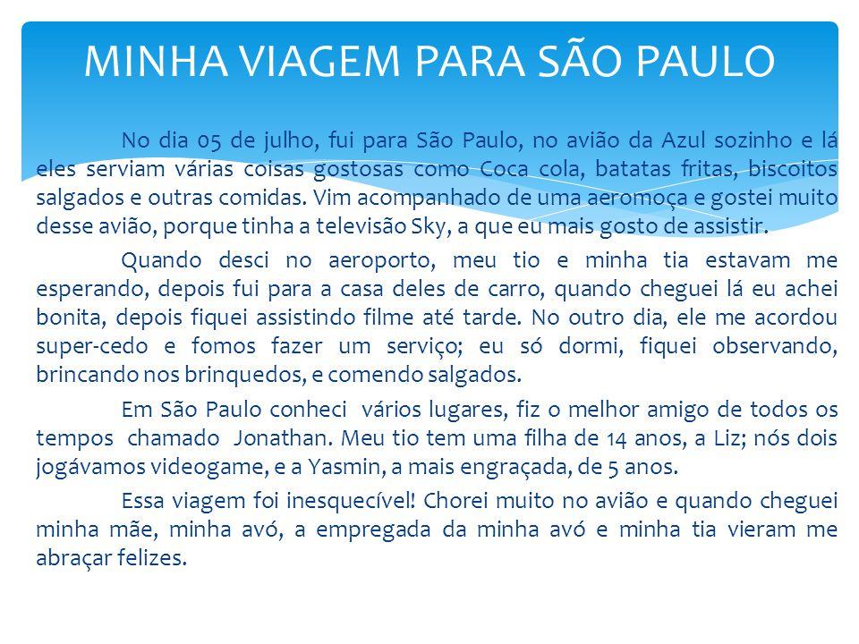 No dia 05 de julho, fui para São Paulo, no avião da Azul sozinho e lá eles serviam várias coisas gostosas como Coca cola, batatas fritas, biscoitos sa