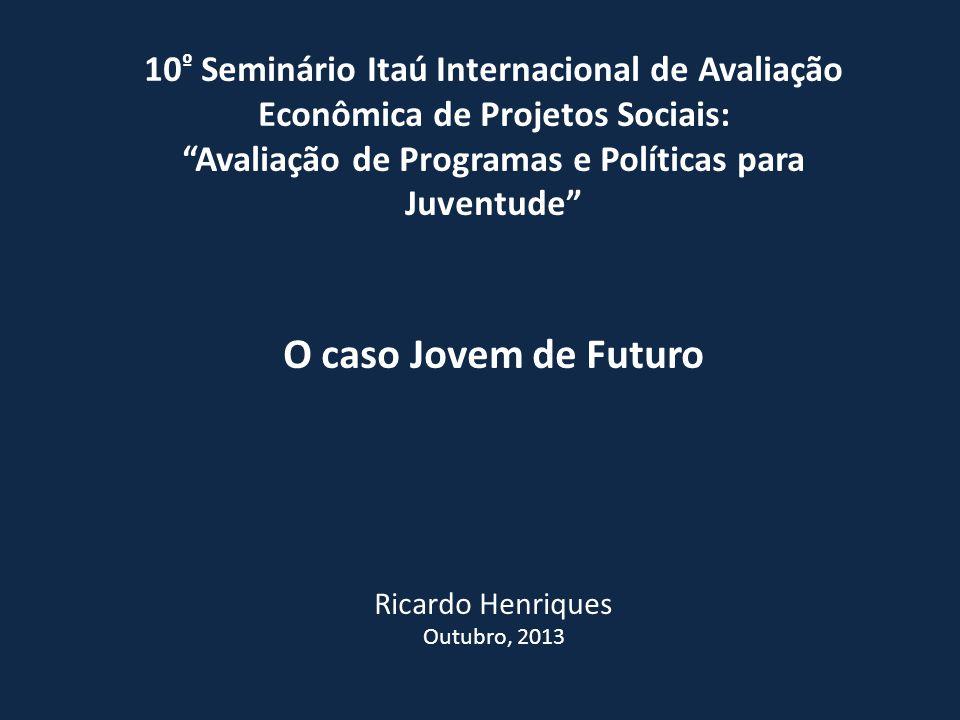 10 º Seminário Itaú Internacional de Avaliação Econômica de Projetos Sociais: Avaliação de Programas e Políticas para Juventude O caso Jovem de Futuro Ricardo Henriques Outubro, 2013