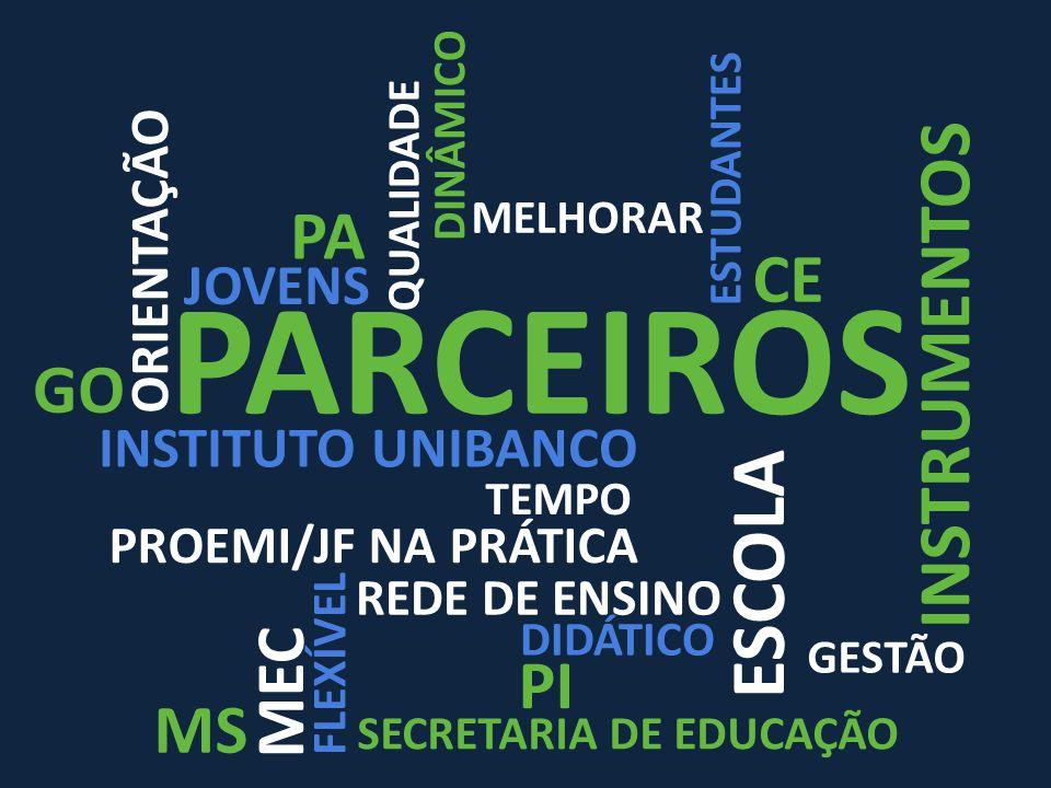 PARCEIROS ORIENTAÇÃO QUALIDADE MELHORAR REDE DE ENSINO GESTÃO ESCOLA TEMPO MEC PROEMI/JF NA PRÁTICA JOVENS ESTUDANTES DIDÁTICO FLEXÍVEL INSTRUMENTOS DINÂMICO INSTITUTO UNIBANCO SECRETARIA DE EDUCAÇÃO CE GO MS PA PI
