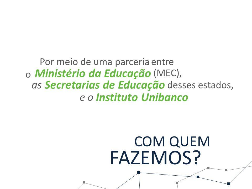 Secretarias de Educação Por meio de uma parceria entre desses estados, Ministério da Educação (MEC), Instituto Unibanco COM QUEM FAZEMOS.