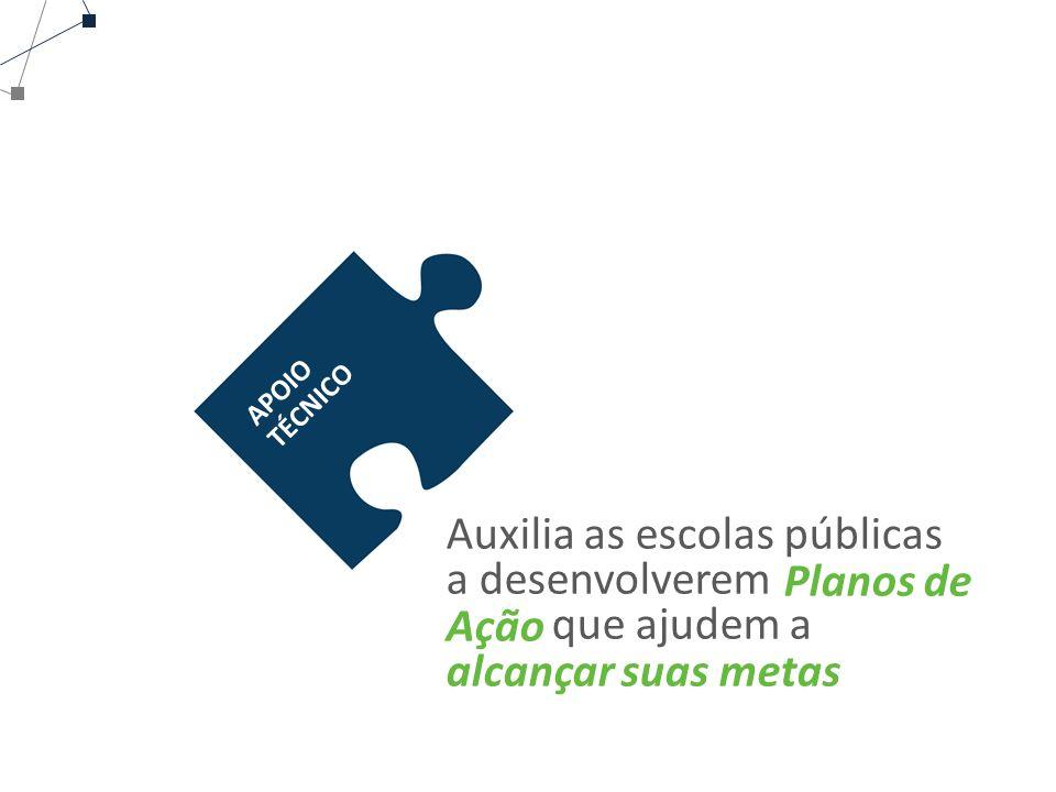 APOIO TÉCNICO Auxilia as escolas públicas a desenvolverem que ajudem a Planos de Ação alcançar suas metas