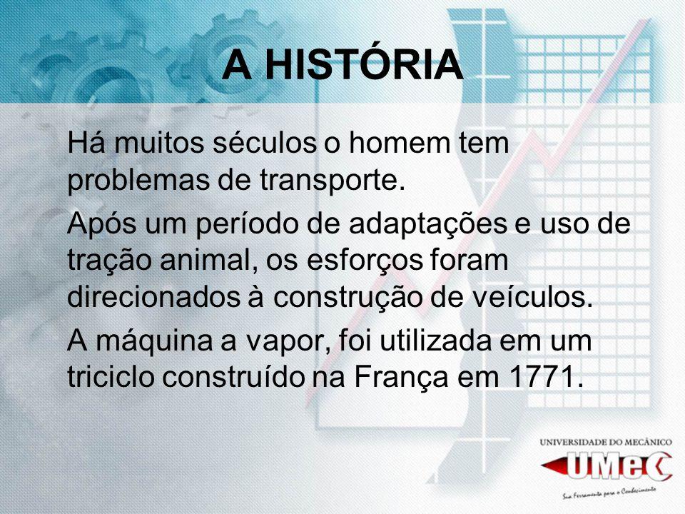 A HISTÓRIA Há muitos séculos o homem tem problemas de transporte.