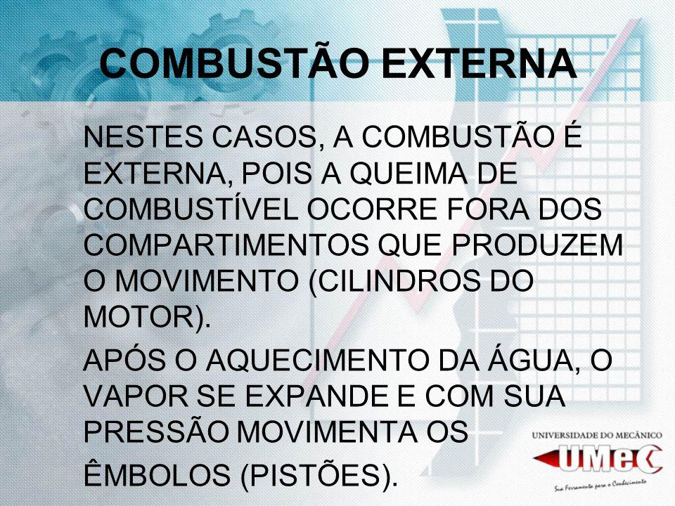 COMBUSTÃO EXTERNA NESTES CASOS, A COMBUSTÃO É EXTERNA, POIS A QUEIMA DE COMBUSTÍVEL OCORRE FORA DOS COMPARTIMENTOS QUE PRODUZEM O MOVIMENTO (CILINDROS DO MOTOR).