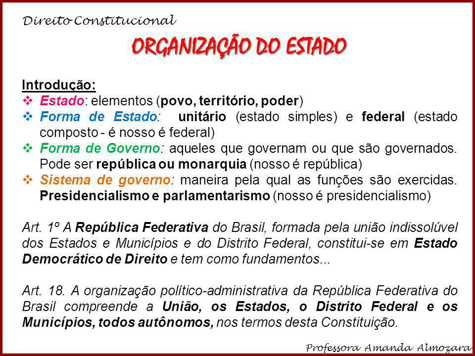 Direito Constitucional Professora Amanda Almozara 1 ORGANIZAÇÃO DO ESTADO Introdução: Estado: elementos (povo, território, poder) Forma de Estado: uni