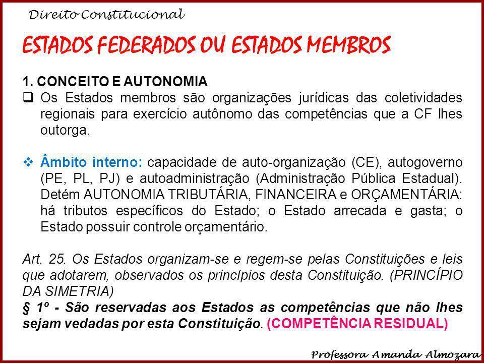 Direito Constitucional Professora Amanda Almozara 11 ESTADOS FEDERADOS OU ESTADOS MEMBROS 1. CONCEITO E AUTONOMIA Os Estados membros são organizações