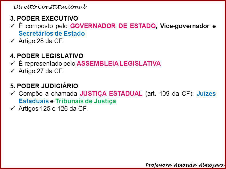 Direito Constitucional Professora Amanda Almozara 13 3. PODER EXECUTIVO É composto pelo GOVERNADOR DE ESTADO, Vice-governador e Secretários de Estado