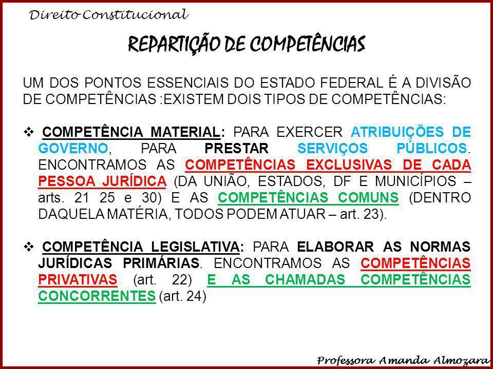 Direito Constitucional Professora Amanda Almozara 19 REPARTIÇÃO DE COMPETÊNCIAS UM DOS PONTOS ESSENCIAIS DO ESTADO FEDERAL É A DIVISÃO DE COMPETÊNCIAS