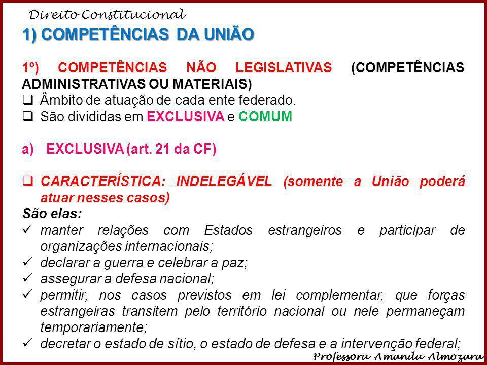 Direito Constitucional Professora Amanda Almozara 21 1) COMPETÊNCIAS DA UNIÃO 1º) COMPETÊNCIAS NÃO LEGISLATIVAS (COMPETÊNCIAS ADMINISTRATIVAS OU MATER