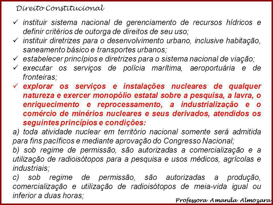 Direito Constitucional Professora Amanda Almozara 24 instituir sistema nacional de gerenciamento de recursos hídricos e definir critérios de outorga d