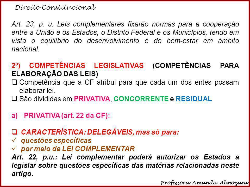 Direito Constitucional Professora Amanda Almozara 27 Art. 23, p. u. Leis complementares fixarão normas para a cooperação entre a União e os Estados, o