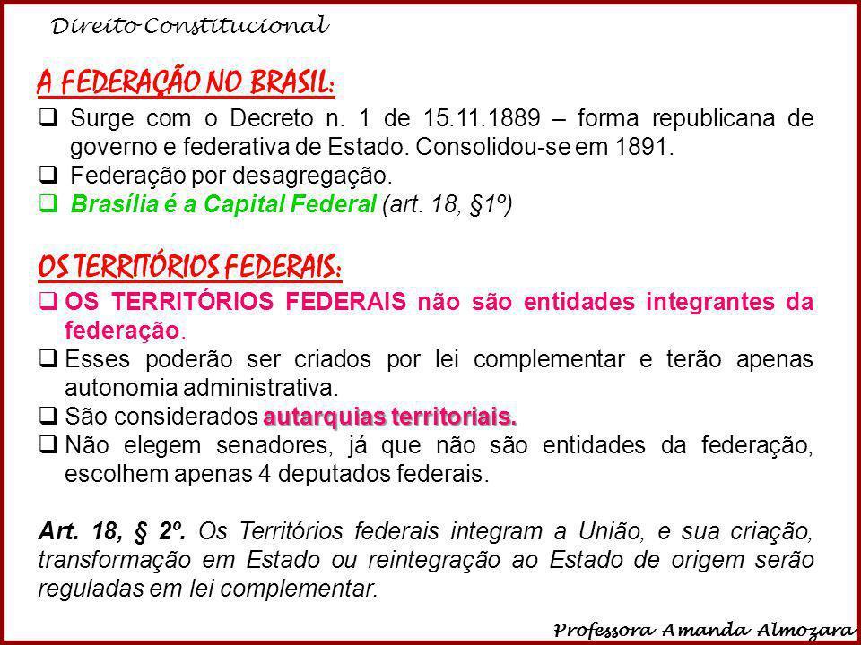 Direito Constitucional Professora Amanda Almozara 3 A FEDERAÇÃO NO BRASIL: Surge com o Decreto n. 1 de 15.11.1889 – forma republicana de governo e fed