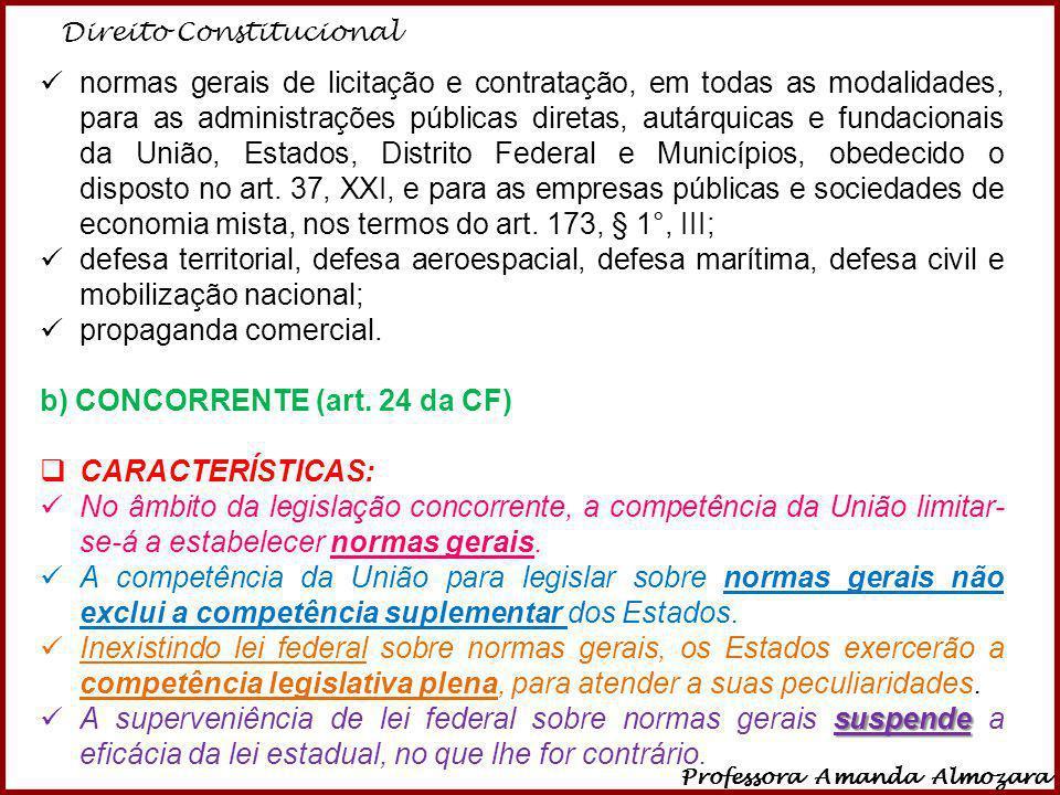 Direito Constitucional Professora Amanda Almozara 30 normas gerais de licitação e contratação, em todas as modalidades, para as administrações pública