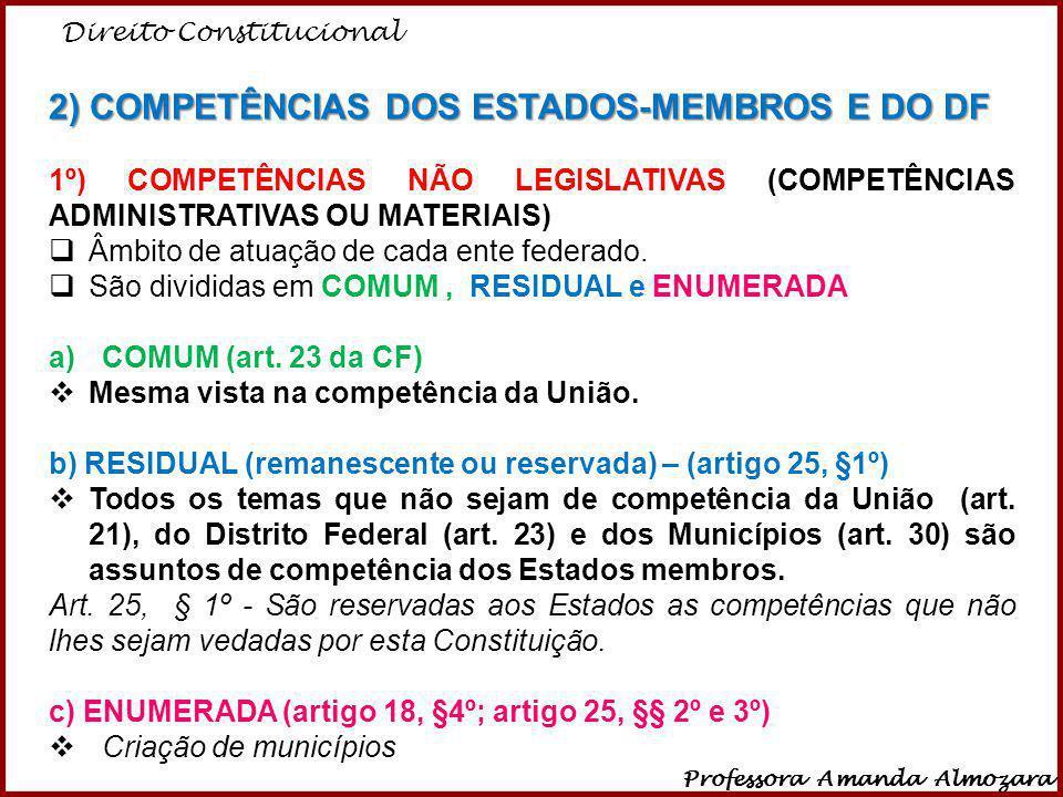 Direito Constitucional Professora Amanda Almozara 33 2) COMPETÊNCIAS DOS ESTADOS-MEMBROS E DO DF 1º) COMPETÊNCIAS NÃO LEGISLATIVAS (COMPETÊNCIAS ADMIN