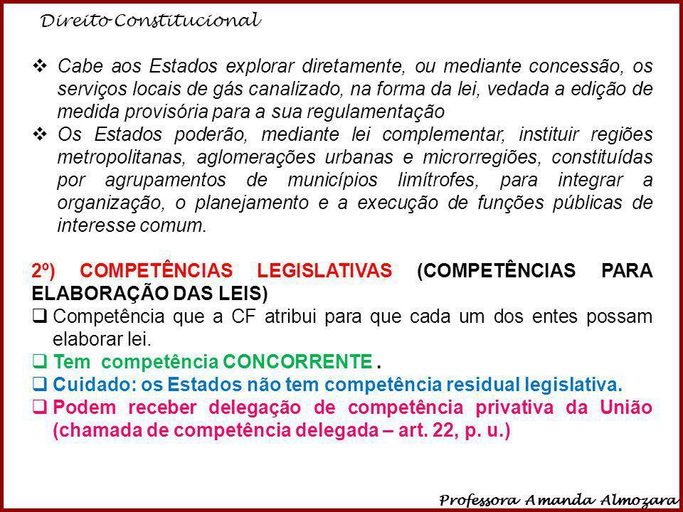 Direito Constitucional Professora Amanda Almozara 34 Cabe aos Estados explorar diretamente, ou mediante concessão, os serviços locais de gás canalizad