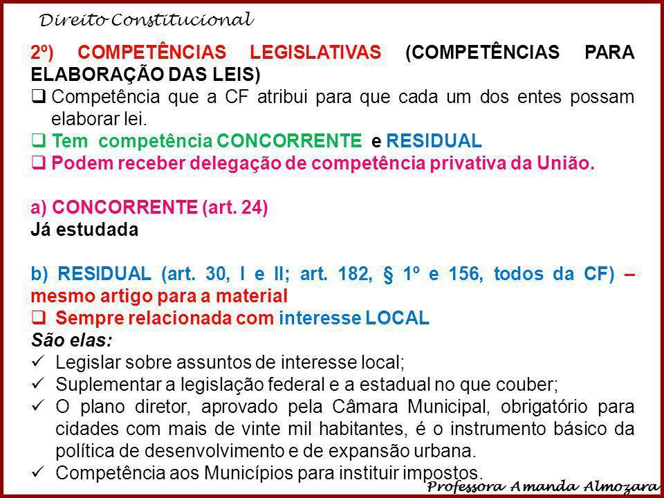 Direito Constitucional Professora Amanda Almozara 37 2º) COMPETÊNCIAS LEGISLATIVAS (COMPETÊNCIAS PARA ELABORAÇÃO DAS LEIS) Competência que a CF atribu