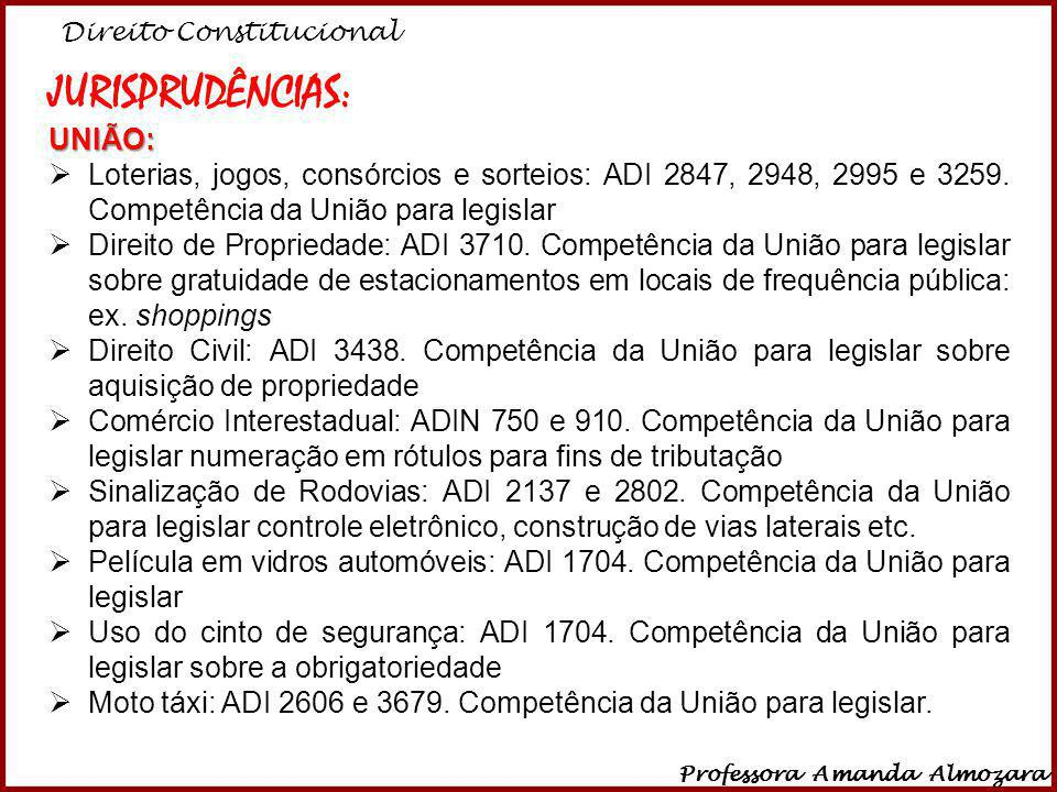 Direito Constitucional Professora Amanda Almozara 38 JURISPRUDÊNCIAS:UNIÃO: Loterias, jogos, consórcios e sorteios: ADI 2847, 2948, 2995 e 3259. Compe